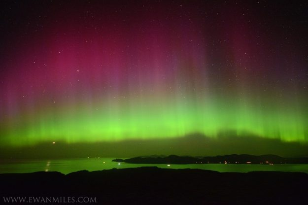 Thanks to Ewan Miles for this stunning image of the Aurora, looking toward Ardnamurchan  www.ewanmiles.com