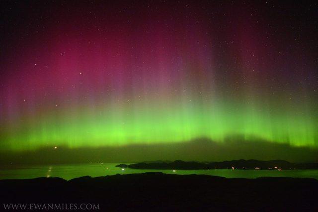 Thanks to Ewan Miles for this stunning image of the Aurora, looking toward Ardnamurchan  www.ewanmiles.com